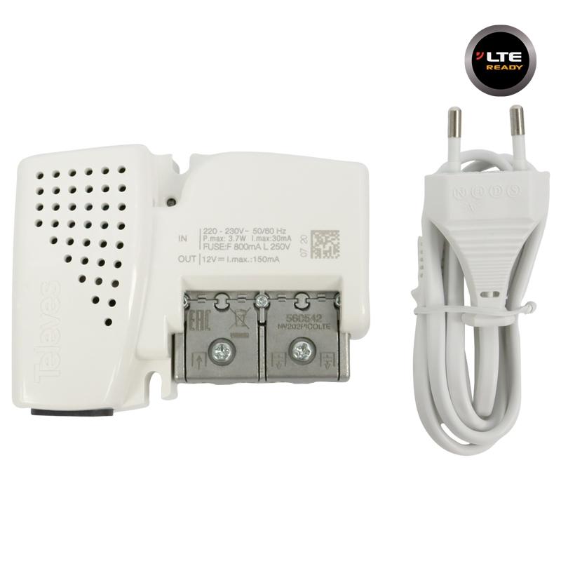 560542 PicoKom Line Amplifier Easy-F AGC 20dB 105dBuV VHF/UHF 2out LTE