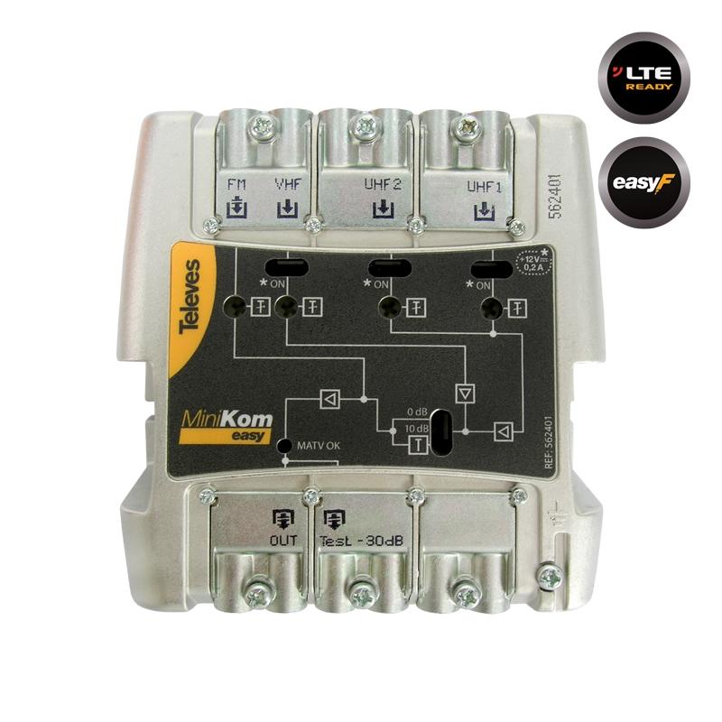 562401 MiniKom ΕΝΙΣΧΥΤΗΣ ΚΕΝΤΡΙΚΟΣ Easy-F 117dBuV FM/VHF/2xUHF LTE