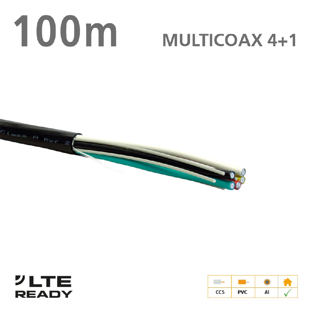 211011 MULTICOAX Cable 4+1 CCS PVC Black 100m