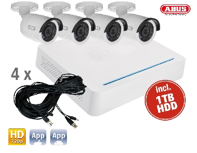 TVVR33408 DVR Kit HD: 8Ch.DVR + 4 Outdoor Cameras