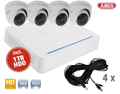 TVVR33418 DVR Kit HD: 8Ch.DVR + 4 Outdoor Cameras Dome