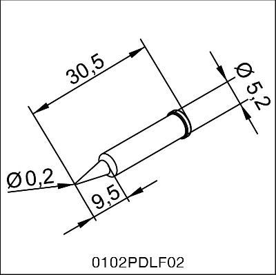 0102PDLF02 ERSA i-Tip Long-life soldering tip 0,2mm