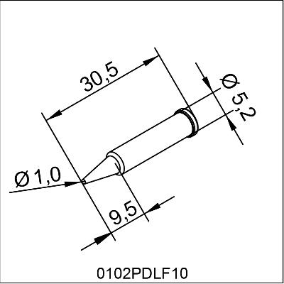 0102PDLF10 ERSA i-Tip LONG LIFE SOLDERING TIP 1,0mm