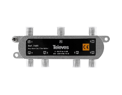 7441 splitter 6 ways F 5-2400 MHz DC pass