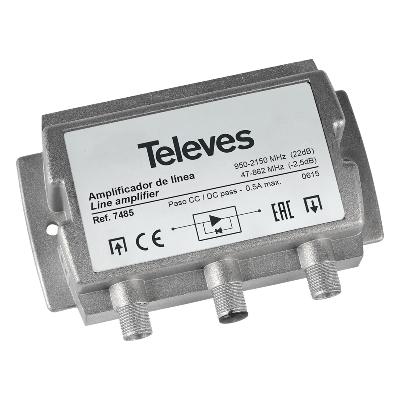 7485 ΕΝΙΣΧΥΤΗΣ ΓΡΑΜΜΗΣ F 950-2150Mhz 22dB SAT + Terr/pass-through