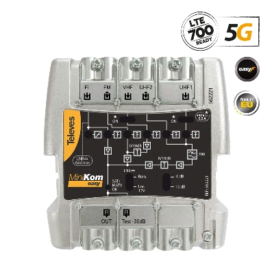 562221 MiniKom ΕΝΙΣΧ. ΚΕΝΤΡΙΚΟΣ Easy-F 5G LTE 115dBuV FM/V/2xU/SAT