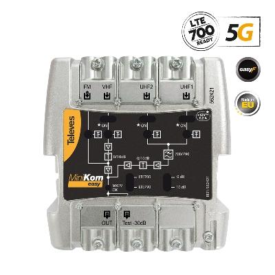 562421 MiniKom Βroadband Αmplifier Easy-F 5G LTE 116dBuV FM/V/2xU