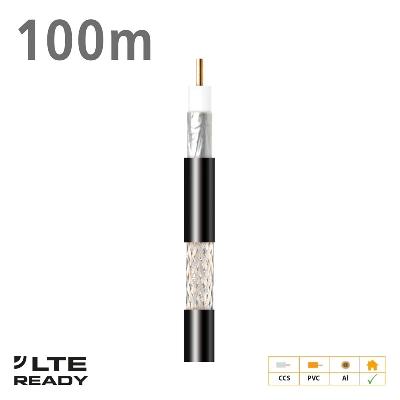 212701 Coaxial Cable CXT-1 CCS AL Eca PVC Black 100m
