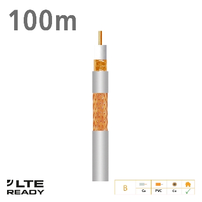 2141 Coaxial Cable T-100plus Cu/Cu Eca PVC White 100m