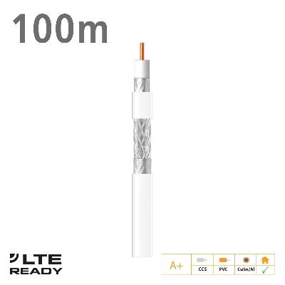 414801 Coaxial Cable SK6F+ CCS CuSn/AL Eca PVC White 100m