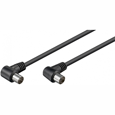 11525 Cable TV 1,5m M/F, black, angle