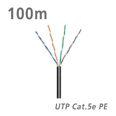 57198 Data Cable Cat.5e U/UTP CCA PE 5.0mm Black 100m
